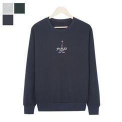DANGOON - Crew-Neck Lettering-Embroidered Sweatshirt
