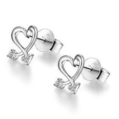 MaBelle - 18K/750 White Gold Diamond Heart Earrings (0.08 cttw)