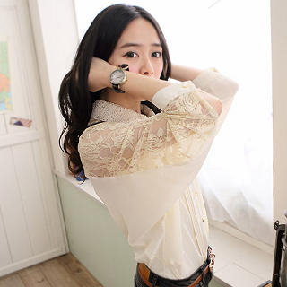 CatWorld - Lace-Panel Pintuck Blouse