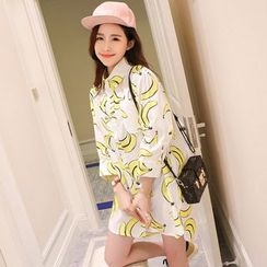Hanaya - Pineapple / Banana Printed 3/4-Sleeve Long Shirt