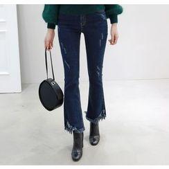 Miamasvin - Fringe-Hem Boot-Cut Jeans