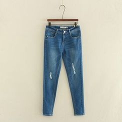 Aigan - Washed Distressed Slim-Fit Jeans