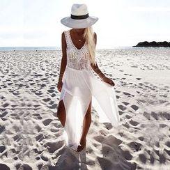 Hotprint - 流苏雪纺拼接沙滩裙