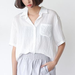Sens Collection - Shirred Short-Sleeve Blouse