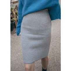 Chlo.D.Manon - Band-Waist Wool Blend Knit Pencil Skirt