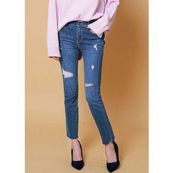 J-ANN - Fray-Hem Distressed Skinny Jeans
