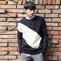 TOMONARI - Crew-Neck Color-Block Knit Top