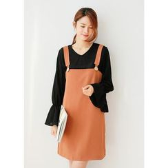 J-ANN - Set: V-Neck Bell-Sleeve Top + Jumper Dress