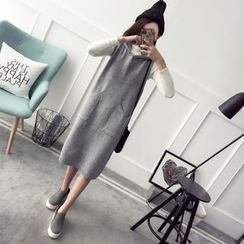 Qimi - Pocketed Hooded Knit tank Dress