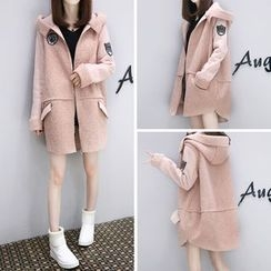 Lavogo - Applique Faux Suede Hooded Coat