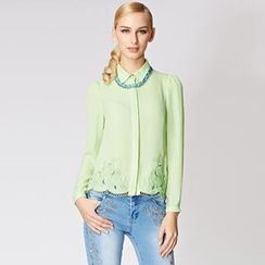 O.SA - Embroidered Hem Chiffon Shirt