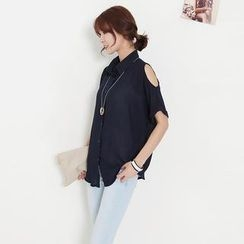 Stylementor - Cut-Away Sleeve Chiffon Blouse