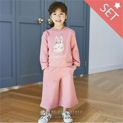 LILIPURRI - Girls Set: Bunny Print T-Shirt + Wide-Leg Pants