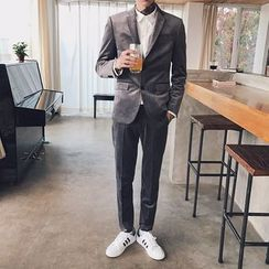 Mr. Cai - Set: Button Up Blazer+Slim-Fit Dress Pants