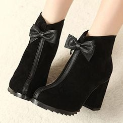 Mancienne - Bow-Accent Faux-Suede Ankle Boots