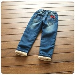 Rakkaus - Kids Washed Applique Embroidered Jeans