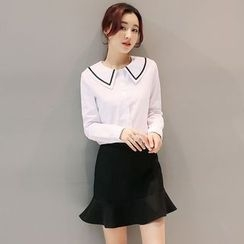 Mandalle - Set: Contrast Trim Shirt + Ruffle Hem Skirt