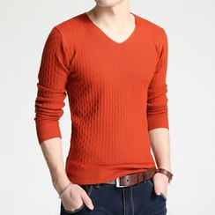 DUKESEDAN - Plain V-Neck Sweater