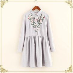 Fairyland - Embroidered Long-Sleeve Shirtdress