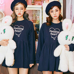 chuu - Raglan-Sleeve Lettering Mini Babydoll Dress