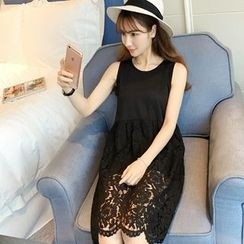 Colorful Shop - Sleeveless Lace-Panel Plain Dress