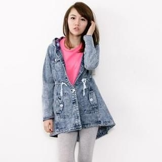 D.P-Shop - Drawstring Hooded Denim Jacket