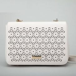 Axixi - Faux-Leather Perforated Cross Bag