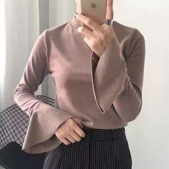 時尚麻豆家 - 純色小高領長袖T恤