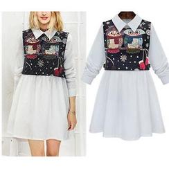 GRACI - 套裝: 純色長袖襯衫連衣裙 + 貓頭鷹圖案馬甲