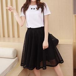 Fashion Street - Mesh  Midi A-Line Skirt