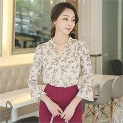 ode' - Frill-Sleeve Floral Print Chiffon Blouse