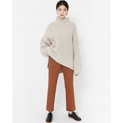 Someday, if - Mock-Neck Wool Blend Chunky-Knit Sweater