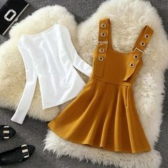 Clementine - 套裝: 純色長袖T恤 + A字背帶裙