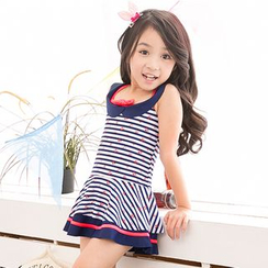 Charmaine - Kids Set: Striped Swim Dress + Swim Bottom
