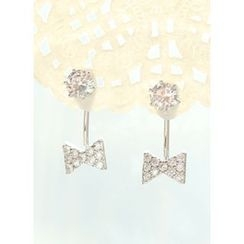 kitsch island - Rhinestone Bow Earrings