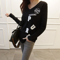 NIPONJJUYA - V-Neck Lettering Appliqué T-Shirt