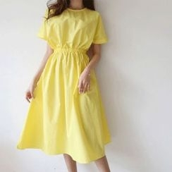 Hello sweety - Band-Waist A-Line Dress