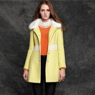 Moonbasa - Wool-Blend Faux-Fur Collar Buttoned Coat