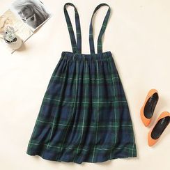 Heybabe - Plaid Suspender Skirt