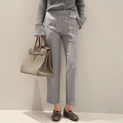 NANING9 - Flat-Front Straight-Cut Pants