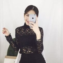 QZ Lady - Long-Sleeve Turtleneck Lace Top