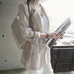 NANING9 - Double-Breasted Linen Blend Jacket