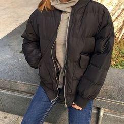 气质淑女 - 纯色夹棉大衣