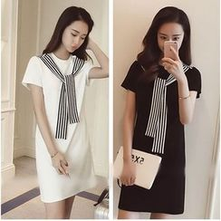 YOSH - Pinstriped Tie-Neck Short-Sleeve Dress