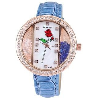 Miss Girl - Rhinestone Flower-Print Strap Watch
