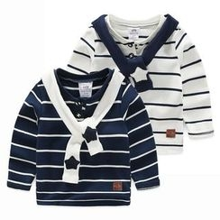 Seashells Kids - Kids Sailor Collar Striped Long-Sleeve T-Shirt