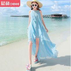Morning Dew - 純色無袖雪紡沙灘裙