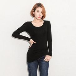 Seoul Fashion - Scoop-Neck Long T-Shirt