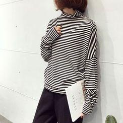 A7 SEVEN - Turtleneck Stripe Long-Sleeve T-shirt