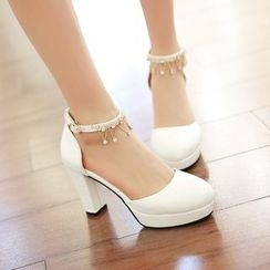 Charming Kicks - Embellished Ankle Strap Pumps